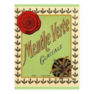 Vintage French liqueur label postcard. Postcard