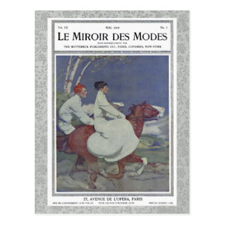 Vintage French Magazine Cover with Horse Riding Postcard
