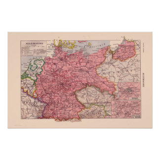 Vintage French map, 1920,  Germany Poster