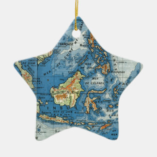 Vintage French map of Indonesia Ceramic Ornament