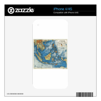 Vintage French map of Indonesia iPhone 4S Decal