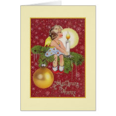 Vintage French Meilleurs Vœux Christmas Card at Zazzle