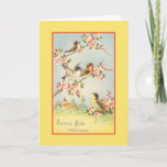 "Vintage French Mother Birthday Card<br><div class=""desc"">Retro / Vintage French Mother Birthday greeting card.  Lovely birds sitting in a blossoming tree!  Bonne fête maman!  Happy Birthday Mom!</div>"
