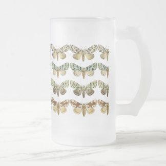 Vintage French Moths Frosted Glass Beer Mug