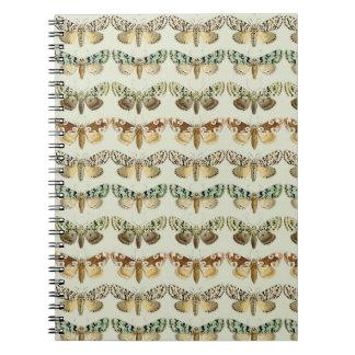 Vintage French Moths Spiral Notebook