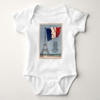 Vintage French National Flag & Eiffel Tower Baby Bodysuit