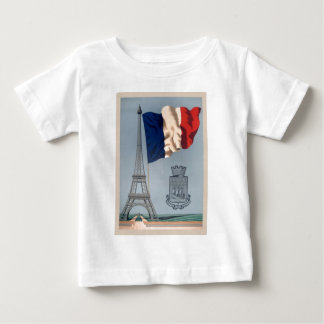 Vintage French National Flag & Eiffel Tower Baby T-Shirt