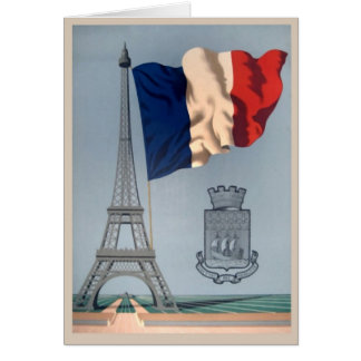 Vintage French National Flag & Eiffel Tower Card