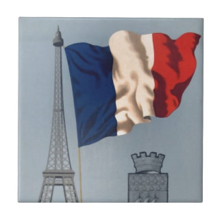 Vintage French National Flag & Eiffel Tower Ceramic Tile