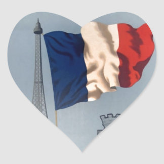 Vintage French National Flag & Eiffel Tower Heart Sticker