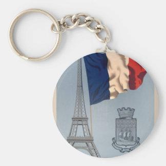 Vintage French National Flag & Eiffel Tower Keychain