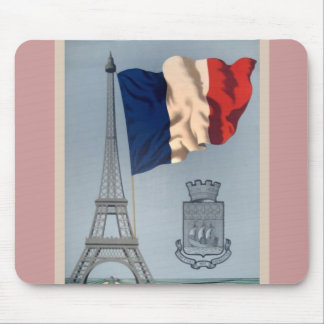 Vintage French National Flag & Eiffel Tower Mouse Pad