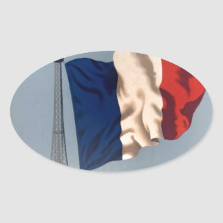 Vintage French National Flag & Eiffel Tower Oval Sticker