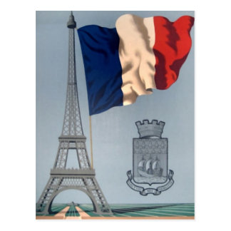 Vintage French National Flag & Eiffel Tower Postcard