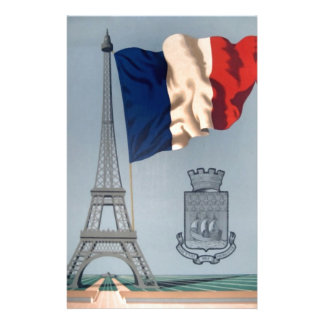 Vintage French National Flag & Eiffel Tower Stationery