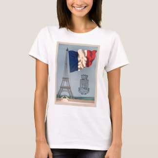 Vintage French National Flag & Eiffel Tower T-Shirt
