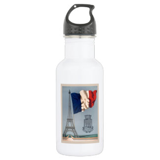 Vintage French National Flag & Eiffel Tower Water Bottle