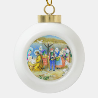 Vintage French Nativity scene Ceramic Ball Christmas Ornament