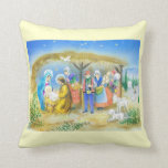 Vintage French Nativity scene Throw Pillow