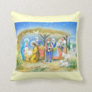 Vintage French Nativity scene Throw Pillow