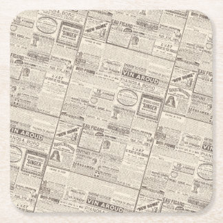 Vintage French Newspaper Advertisements Pattern Square Paper Coaster