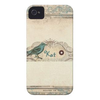 Vintage French Newspaper Bird Blackberry Bold iPhone 4 Case-Mate Case