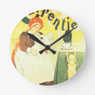 Vintage French nurse and baby illustration Round Clock