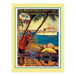 Vintage French ocean cruise travel advertising Postcard