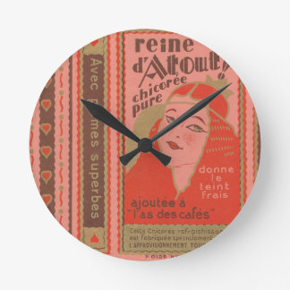Vintage French paper red pink woman Reine d'Atout Round Clock