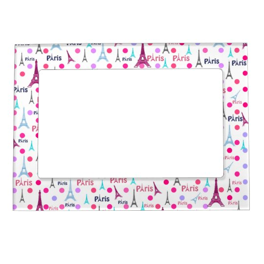 Vintage French Paris Eiffel Tower Pink Polka Dots Magnetic