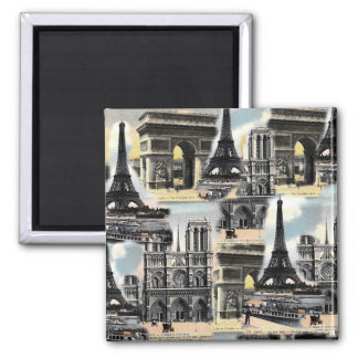 Vintage French Paris Travel Collage Eiffel Tower 2 Inch Square Magnet