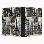 Vintage French Paris Travel Collage Eiffel Tower Binders