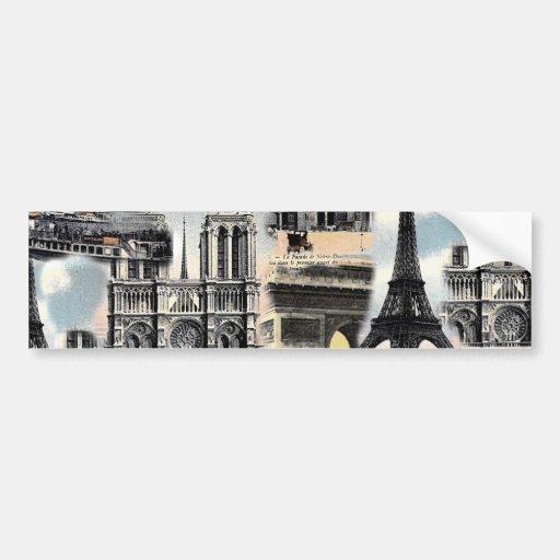Vintage French Paris Travel Collage Eiffel Tower Bumper Sticker