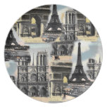 Vintage French Paris Travel Collage Eiffel Tower Dinner Plates