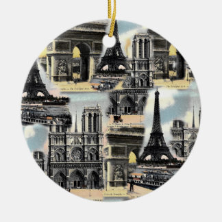 Vintage French Paris Travel Collage Eiffel Tower Double-Sided Ceramic Round Christmas Ornament