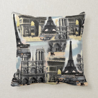 Vintage French Paris Travel Collage Eiffel Tower Pillows