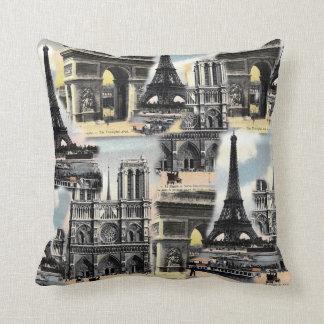 Vintage French Paris Travel Collage Eiffel Tower Pillows