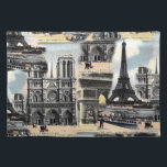 "Vintage French Paris Travel Collage Eiffel Tower Placemat<br><div class=""desc"">Really beautiful antique travel collage featuring the Eiffel Tower,  L&#39;Arc de Triomphe and Notre Dame in Paris France,  designed using vintage illustrations courtesy of The Graphics Fairy. Image available on various gifts and products.</div>"