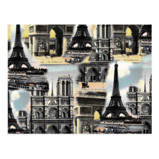 Vintage French Paris Travel Collage Eiffel Tower Post Cards