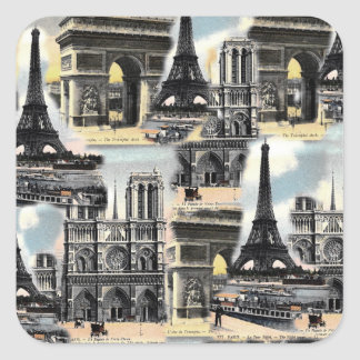 Vintage French Paris Travel Collage Eiffel Tower Square Sticker