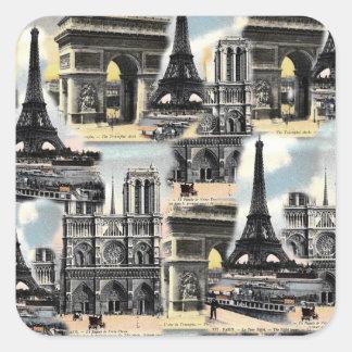 Vintage French Paris Travel Collage Eiffel Tower Square Sticker