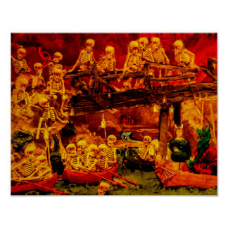 Vintage French Party in Hellsville Skeletons Devil Poster