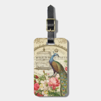 Vintage French Peacock luggage tag