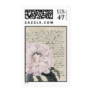 Vintage French Peony Chevron Script Postage Stamp