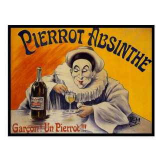 Vintage French Pierrot Absinthe Advertisement Post Card