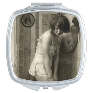Vintage French Pin-up Girl Compact Mirror