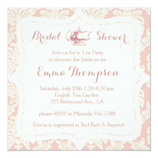 Vintage French Pink+Cream Damask Bridal Tea Party Card