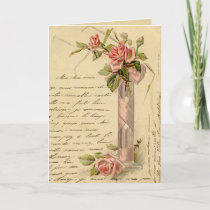 Vintage French Pink Roses Holiday Card