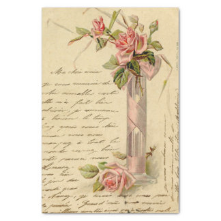 Vintage French Pink Roses Tissue Paper