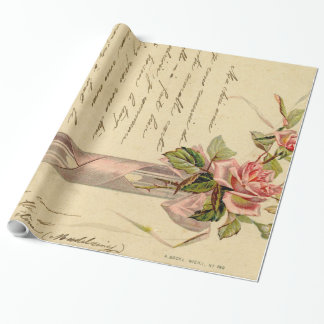 Vintage French Pink Roses Wrapping Paper